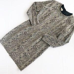Talbots long sleeve paisley print dress